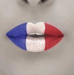 a red white and blue lips